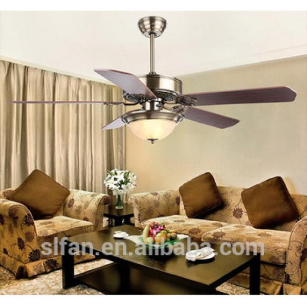 "52"" decorative ceiling fan with light 5 pieces metal iron blades remote control"