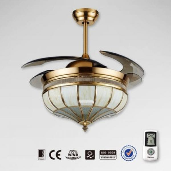 Noble decorative retractable fan with light and hidden blades