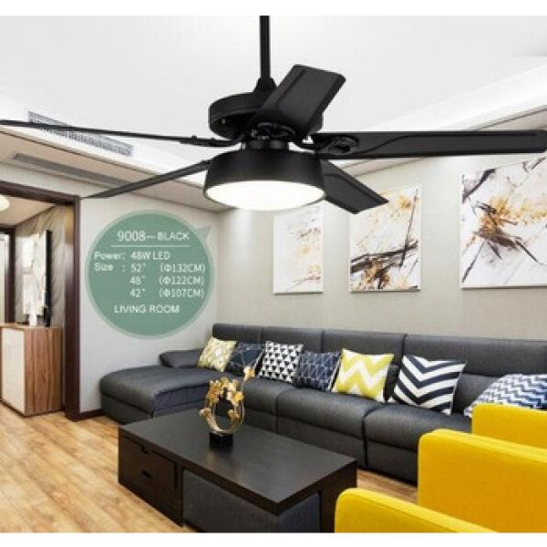 52 inch consumption flush mount black iron blade ceiling fan with led light indoor&out door use
