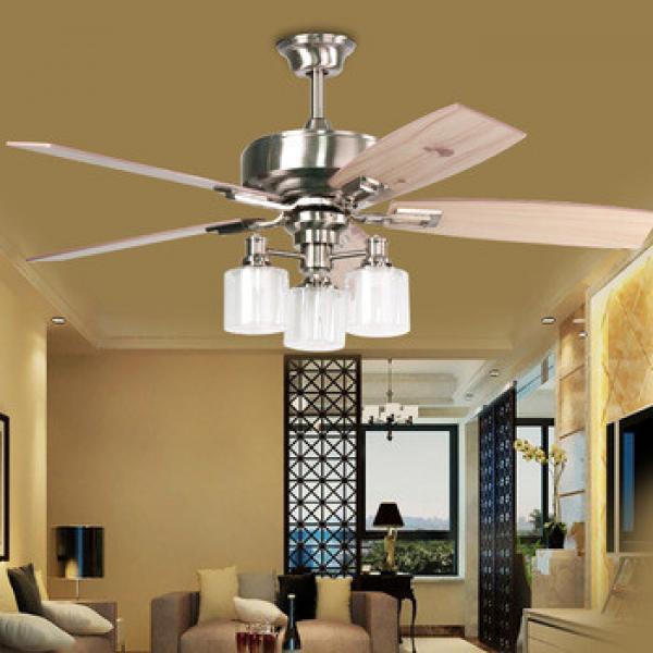 Living room 3 lights fan chandelier restaurant 5 leaves ceiling fan lights with remote control