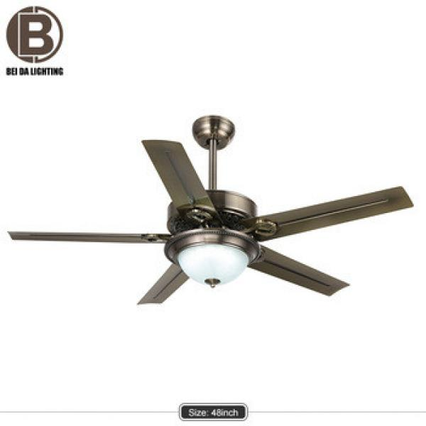 48 Inch Flush Mount Ceiling Fan with Light Kit Red copper+Remote Control