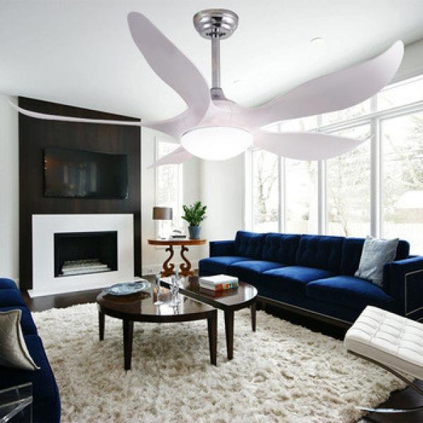 5 blades decorative modern simple style 220v cooling ceiling fan with remote control 24w led light