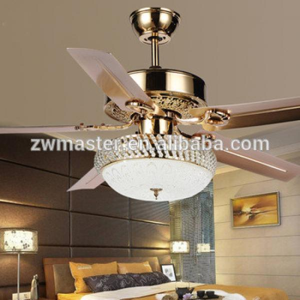 Modern 5 reversible blades crystal glass frosted remote control home ceiling fan