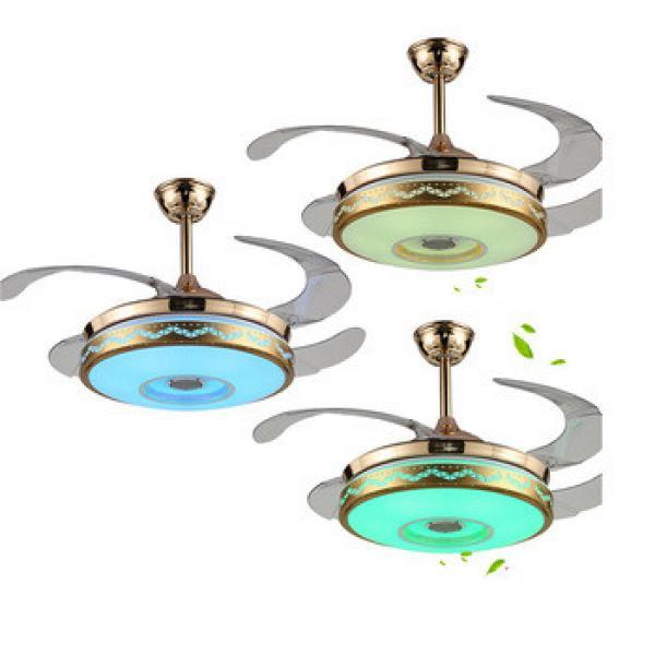 Smart phone control wirelss ceiling fan with bluetooth app speaker